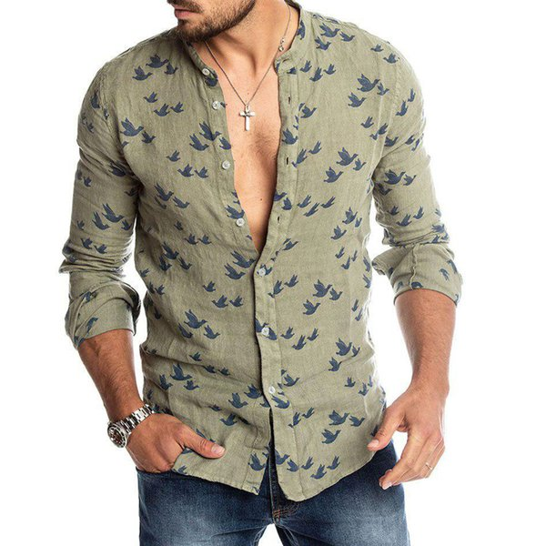 Mens Fashion Linen T Shirt Printed Button Cardigan Round Neck Long Sleeve Tops TH36