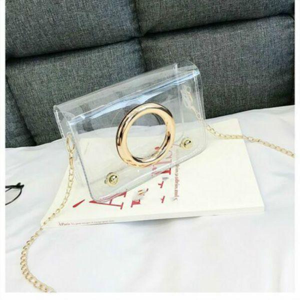Nueva bolsa de las mujeres transparentes de PVC transparente Cadena jalea bolsa para la hembra del bolso del totalizador del hombro del mensajero precioso Crossbody