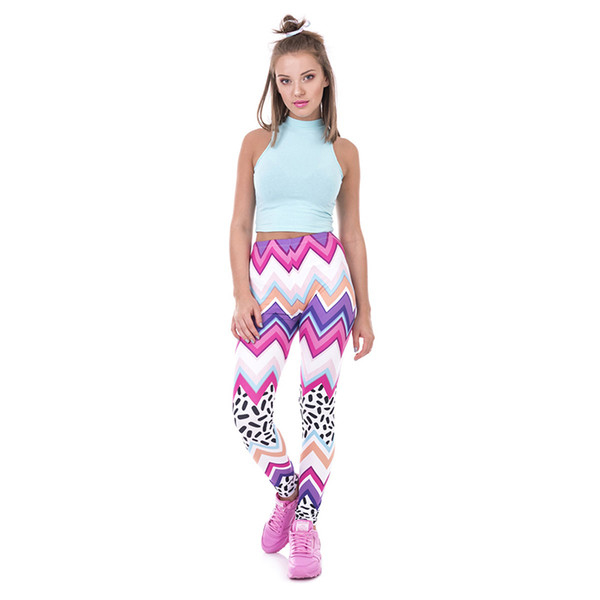 Women Leggings Zig Zag & Dashes 3D Digital Full Print Comfortable Yoga Wear Pants Lady Stretchy Jeggings Girl Full Length Trousers (Y42437)