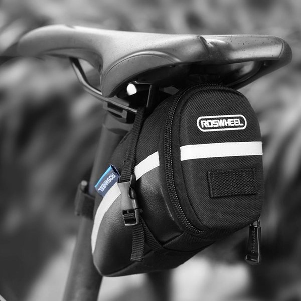 Cycling Portable Waterproof With Lid Bike Lid, Reflective Strip Contrast Color 1.2L Saddle As picture Bag