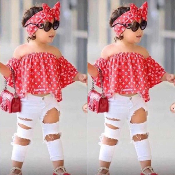 Conjuntos de ropa para niñas de verano para niños Fuera de la camisa con hombros descubiertos + Pantalones con agujeros + Banda para el cabello Conjunto de ropa para niñas Ropa para niños B11