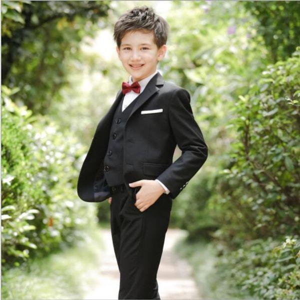 2019 jungen Anzüge für Hochzeiten Neue Ankunft Feste Marineblau jungen hochzeitsanzug formelle anzug für junge kinder hochzeit anzüge blazer 4 teile / satz