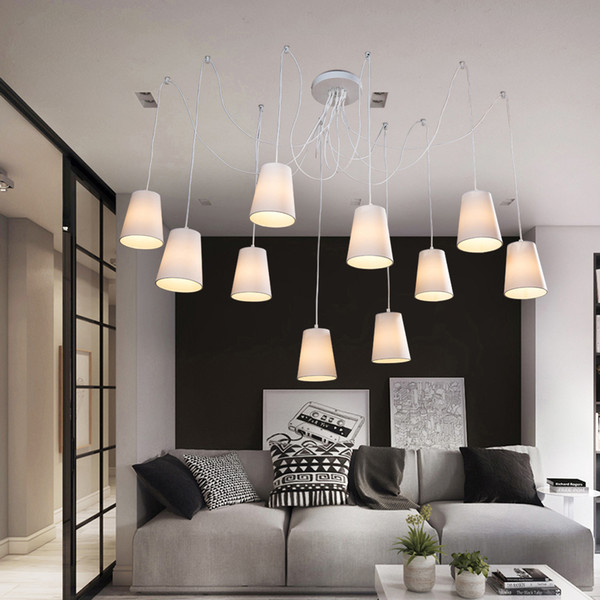 Moda moderna araña grande arañas trenzadas blanco negro tela tonos / DIY 10 cabezas Clusters of Hanging iluminación de la lámpara de techo
