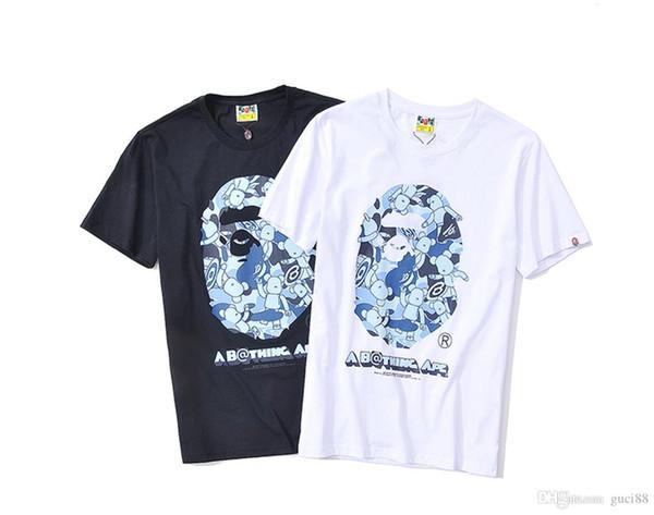 2018 APE Mens Tasarımcı T Shirt Karikatür T-shirt Kapalı Spor Rahat T-Shirt Kazak Gevşek Kısa Kollu Hip Hop Beyaz Bir Banyo Aape Clothig