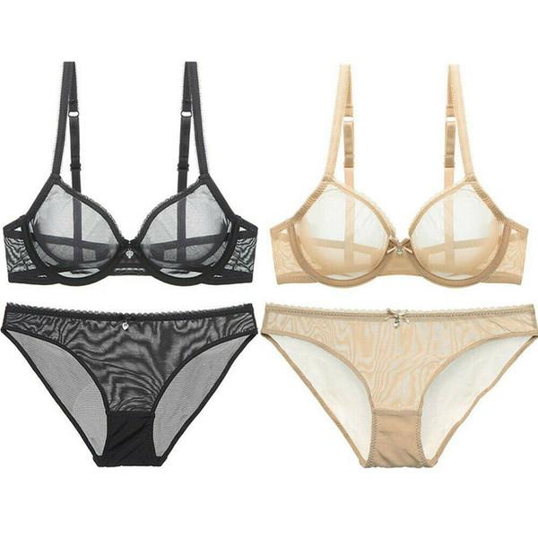 YANDW Sexy Bra Panties Vendas Separado Set Transparent Gauze ver através Underwear Mulheres Erotic Lingerie oco Plus Size BH