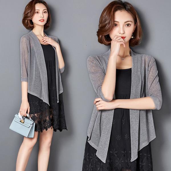 Les femmes Chemisier Vêtements pour femmes Nouveau femmes d'été Kimono Mesh transparent en mousseline de soie soleil Chemisier en vrac court solide couverture Ups Applique Outwear 3