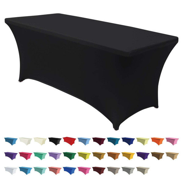 best selling Table Cloth Rectangular Wedding Long Bar Elastic Stretch Spandex Table Cover Long Bar Hotel Event Party Desk Cloth Black White