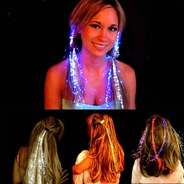 Световой Light Up LED выдвижение волосы вспышка Braid Party Girl Glow волос с помощью волоконно-оптического Рождества Хэллоуина украшения Night Lights