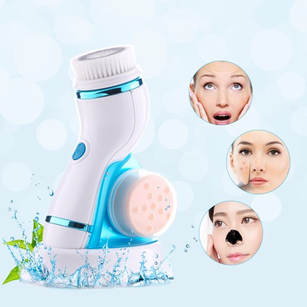 4-in-1 Electric Facial Cleansing Brush Kit Waterproof Female Face Pore Cleaner Face Skin Care Tools