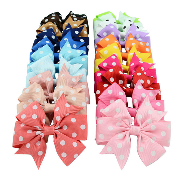 wholesale Rushed Mix Color Headbands Yl Hot Sale 20 Colors Kids Hair Bows Embossed Rib Ribbon Bowknot Hairpin Girl Polka Dot Duckbill Clips