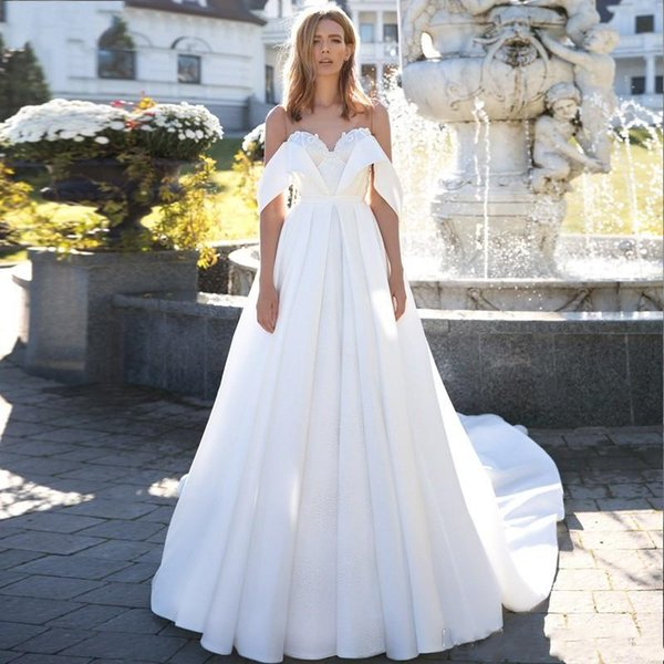 Modest 2019 Satin Wedding Dresses Plus Size V Neck Off The Shoulder Lace Wedding Dress Bridal Gowns vestido de novia