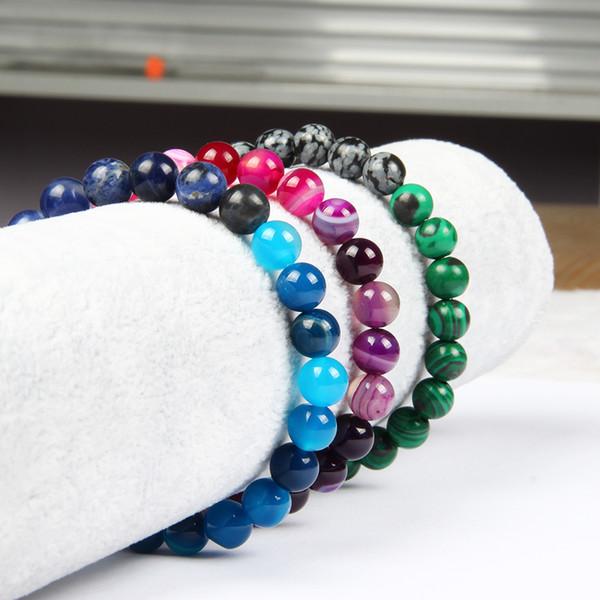Mix Farben Männer Stein Armreif Schmuck Großhandel 8mm Natürliche Perlen Buddhistischen Perlen Armbänder Geschenk Für Männer Und Frauen