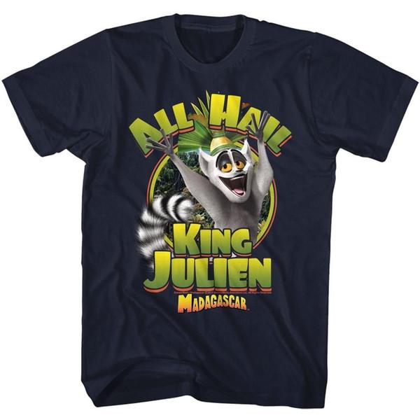 Madagascar T-Shirt De Altura Todos Saúdem Rei Julien Navy Tee Camiseta Para Homens Moda Personalizada de Manga Curta Plus Size Equipe Tshirt