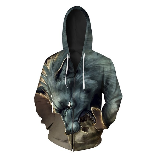 Men Zipper Hoodie Wolf 3D Graphic Full Print Man Zip Hooded Sweatshirt Unisex Casual Hoodies Long Sleeves Sweatshirts Digital Tops (R409)