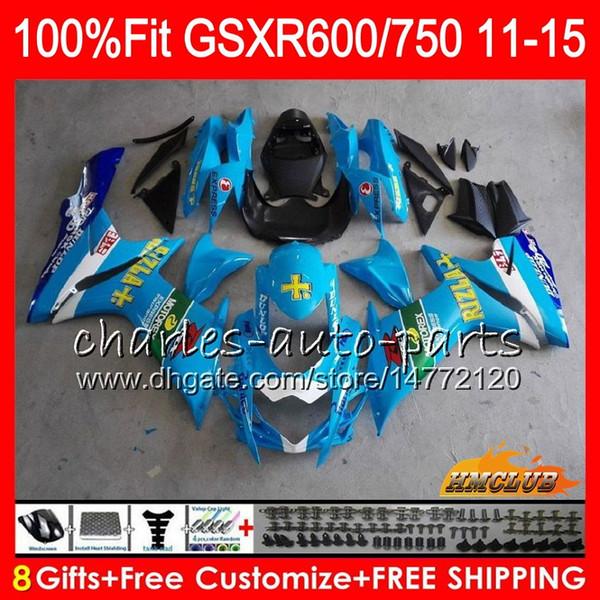 Injection RIZLA blue For SUZUKI GSXR 600 750 GSXR750 11 12 13 14 15 16 10HC.24 GSXR-600 K11 GSXR600 2011 2012 2013 2014 2015 2016 Fairing