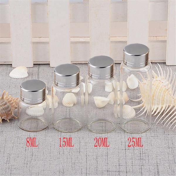 12pcs 8ml 15ml 20ml 25ml Mini Glass Bottles With Silver Swivelling Cover Glass Bottles Screw Caps Weding Gift Jars Wholesale