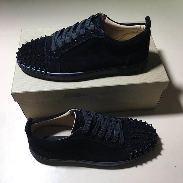 Chaussures de designer Rouge Low Cut Suede spike Chaussures de sport Parti Mariage cristal Baskets En Cuir Habillé Chaussures