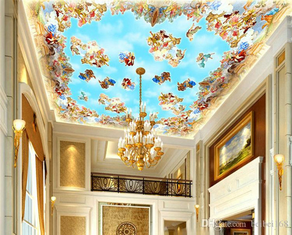 desktop wallpaper 3d murals Top suspended ceiling mural wall paper painting Western European blue sky Angel photo wallpaper Custom size