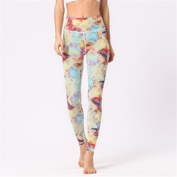 Womens Sports Yoga Cropped Pants High Waisted Leggings Fitness Running Dance Cropped Trousers Super Elastic Tights Print Ankle Length Pants