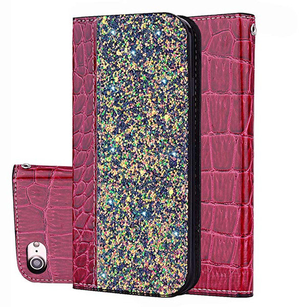 Bling Glitter Shiny Leather Flip Folio Wallet Case Kickstand For iPhone 6 7 8 X Xr XS Max Samsung S9 Plus S10 Lite