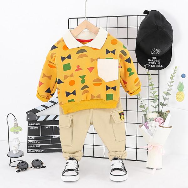 Çocuklar Bebek Karikatür Giyim Çocuk Kış Giyim Suits Bebek Boys Kız Yaka Geometrik Triko + Pantolon İki Parça Setler