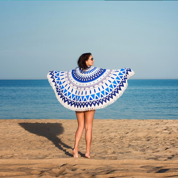 geometric Round Beach Towel Floral Tassel Tapestry blue and White Flower Yoga Mat Stylish Toalla Blanket 150cm T90