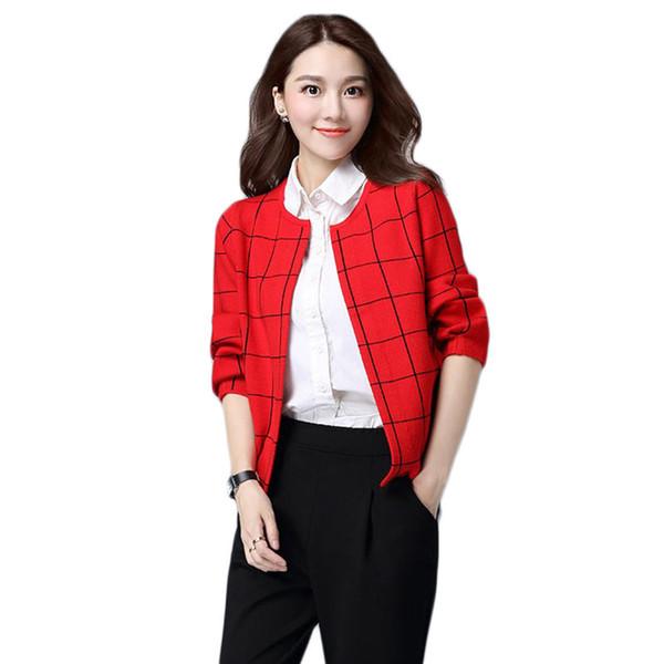 Women Sweater Jacket 2019 Spring Fashion Korean Large Size Sweater Short Plaid Cardigan Long Sleeve Wild Knit Coat f160