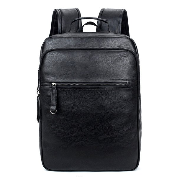 14 Inch Laptop Backpack PU Leather Buiness Backpacks Casual School Bag Male Large Capacity Satchels
