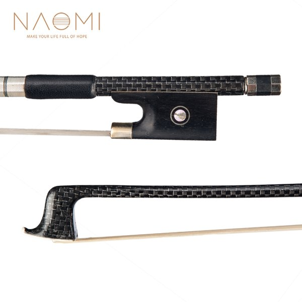 NAOMI Violin Bow 4/4 Full Size Carbon Fiber Bow For 4/4 Violin W/ Silver Braided Ebony Frog Violin Part & Accessories New
