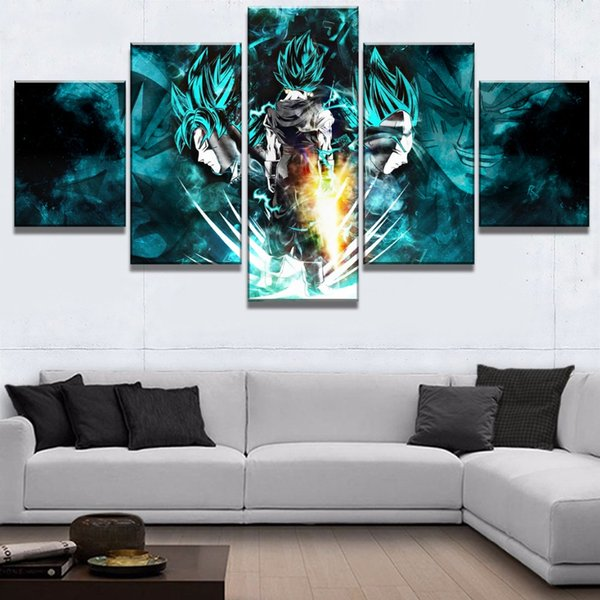 Full Square 5D DIY Diamond Painting 5 Panel Dragon Ball Super Goku And Vegeta Canvas Wall Art Mosaic Pictures Home Decor Gift