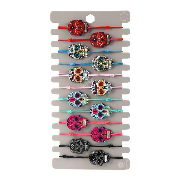 12pcs / insiemi arcobaleno / unicorno / donna del cranio ha intrecciato i braccialetti regolabili di yoga i braccialetti per i monili fatti a mano dei caviglieri del bambino