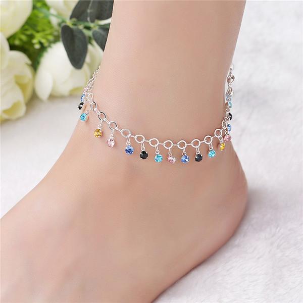 Bohemia 925 de plata tobilleras para las mujeres elegante multicolor CZ Crystal colgante tobillera Sexy pulsera pie joyería mejor regalo AB100