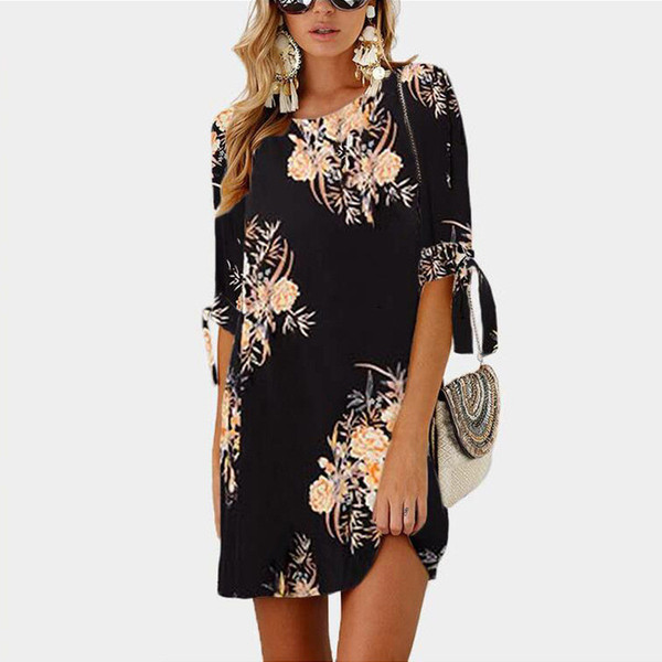 2019 Femmes Robe D'été Boho Style Floral Imprimé En Mousseline De Soie Beach Dress Tunique Robe Longue Lâche Mini Party Dress Vestidos Plus La Taille 5XL
