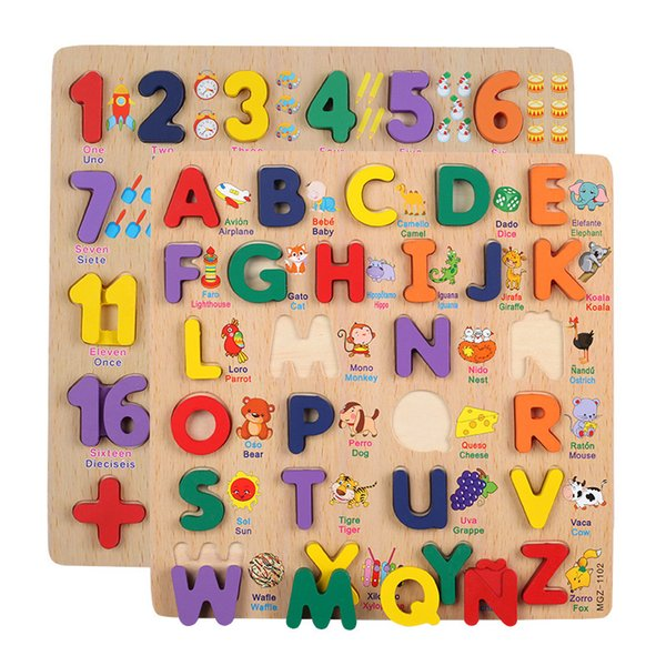 best selling Baby Toys Montessori Wooden Puzzle hand Grab Board Set Educational Wooden Toy Cartoon Alphabet Digit Jigsaw Puzzle Child Gift