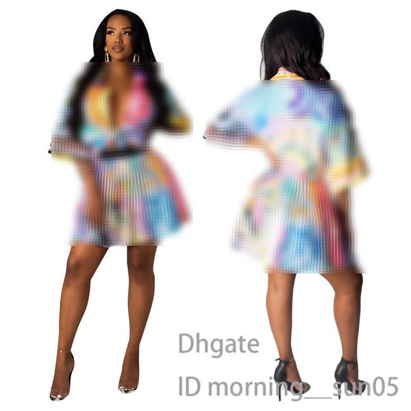 Traje de falda corta para mujer conjunto de falda plisada de mezcla de color casual sexy y estampado de tendencia