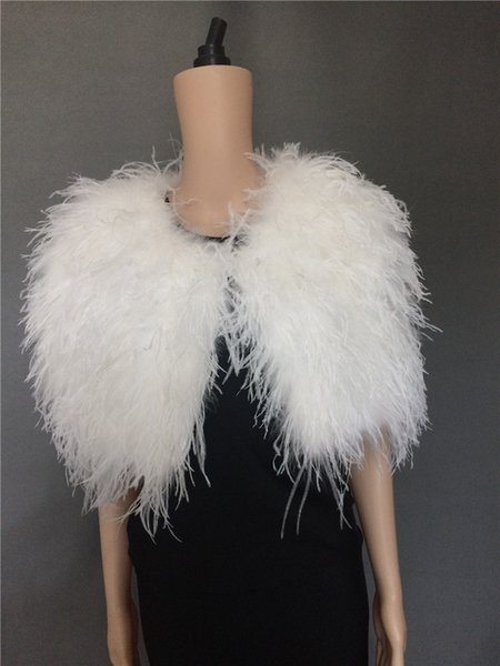 lady women real ostrich feather fur short shawl cape wedding bride bridal party white black pink color furry fluffy
