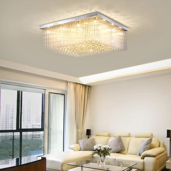 Modern crystal ceiling chandeliers lights flush mount high-end crystal square chandelier lighting led ceiling lamp for living room bedroom
