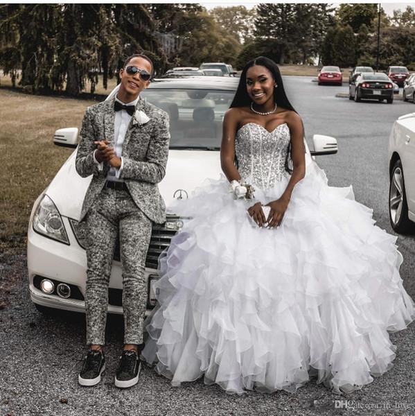 African Crystal Wedding Dresses Sweetheart A Line Floor Length Sequin Country Wedding Dress Custom Made Black Girl Bohemian Bridal Gowns