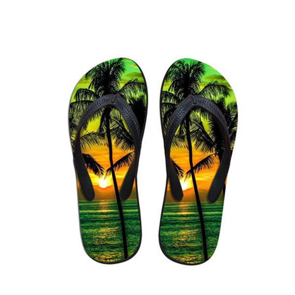 NOISYDESIGNS Frauen Flip Flops 3D Palm Tree Pattern Frauen Casual Sommer Slipper Frau Strand Wohnungen Flip Flops Weiblich