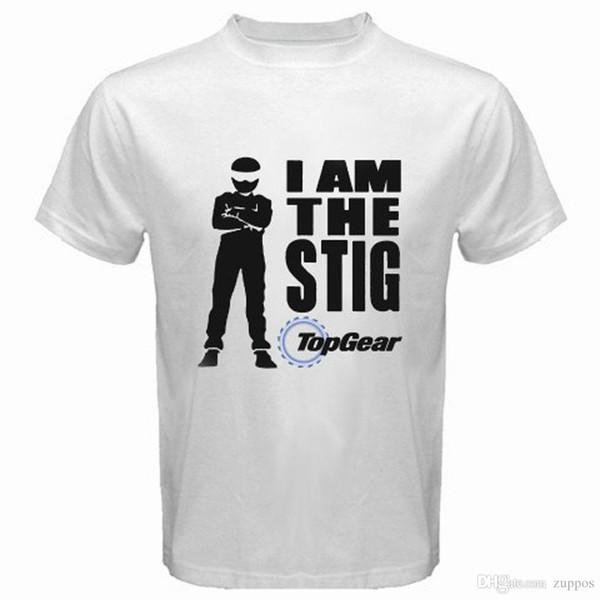 Novo Top Gear TV Show Logo * Eu Sou O Stig dos homens T-Shirt Branco Tamanho S para 3XL Banda Logotipo Camiseta Para Homens