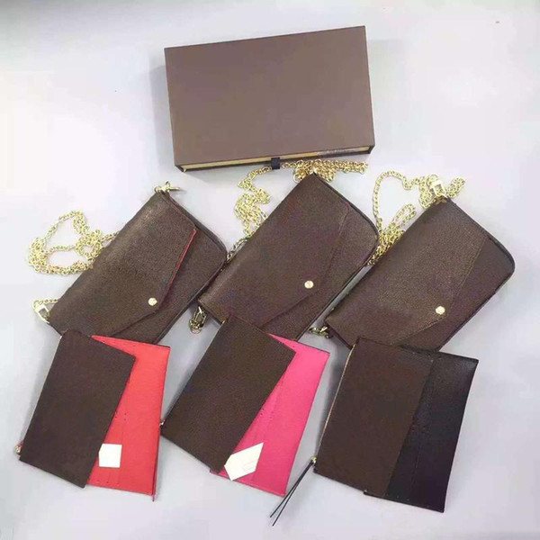 New Presbyopia Wallet Fashion Leather Chain Mobile Phone Bag Mini Wallet Felicie Lady Messenger Bag Designer Clutch