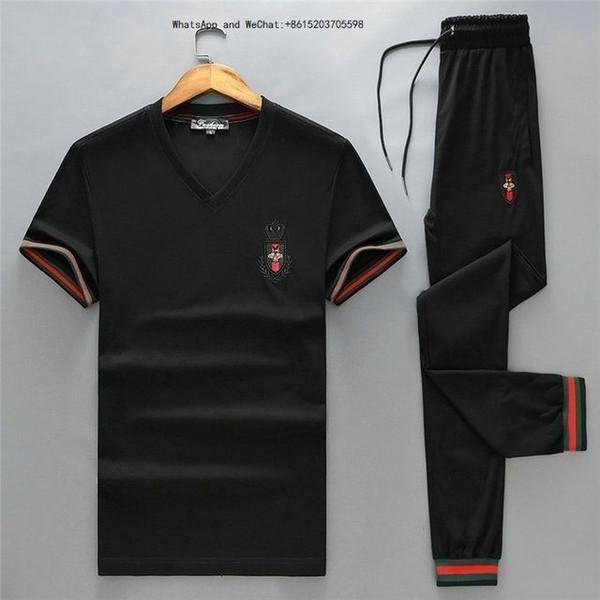 Sommer neue Herren Full Zip Kurzarm Casual Sportswear Sport Weiß Günstige Sweatshirt und Hosenanzug Herrenmode Trainingsanzüge