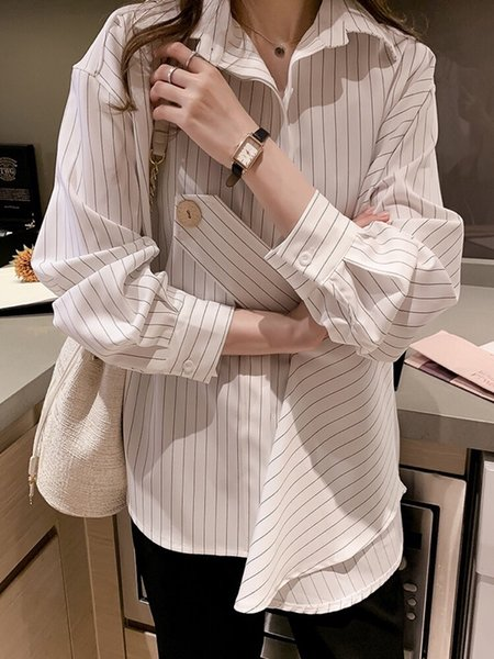 Autumn Fashion Stripe Shirt Woman 2019 Design Sense Shirt Loose Long Sleeve Slim Women Blouses and Top Vintage Plus Size 6948 50