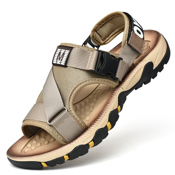 Новая мода дышащие мужские сандалии летние пляжные туфли мужские тапочки повседневная обувь нескользящая износостойкая с открытым носком