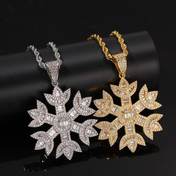 Fiocco di neve di Natale uomo collana di gioielli Hip Hop fuori ghiacciato a lunga catena del maglione del pendente collane di fascino del regalo di compleanno per le donne Lady M962F