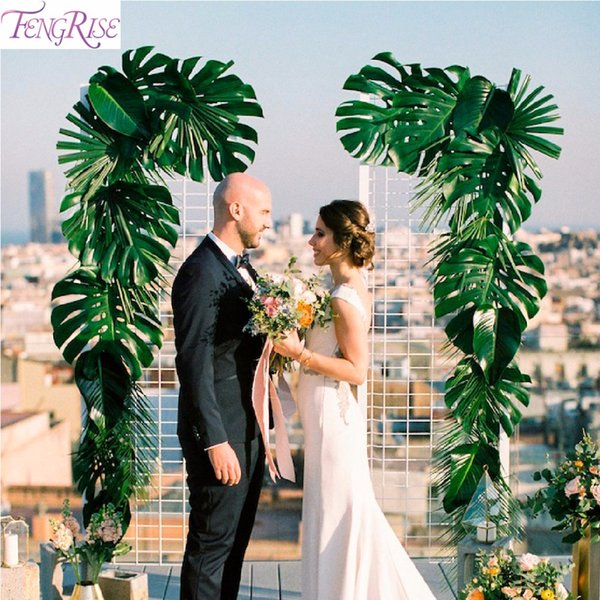 FENGRISE Artificial Palm Leaves Plastic Monstera Leaf Wedding Luau Party Decoration Green Silk Hawaiian Party Turtle leaves