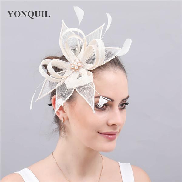 Fashion wedding women headwear sinamay fascinator chapeau elegant ladies party church occasion headdress with hair clips bridal free ship