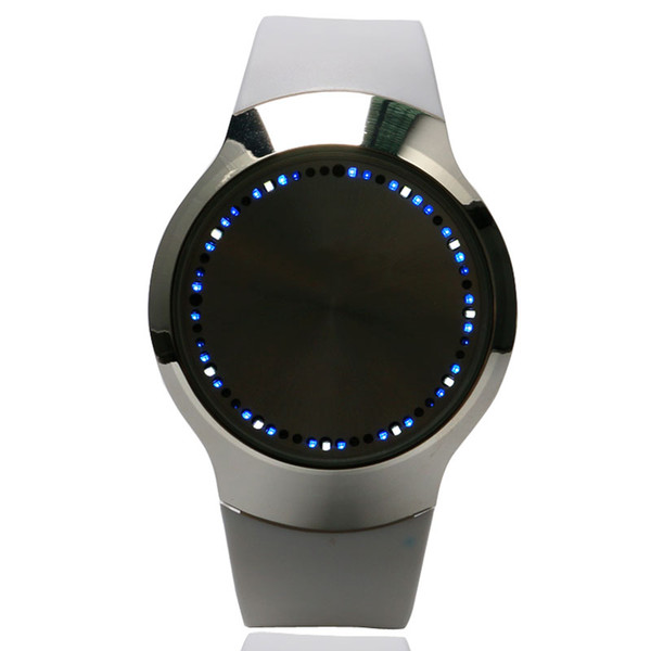 White Unisex Sports Casual Touch Screen LED Analog Wrist Watch Quartz Silicone Band Men Lady W153702