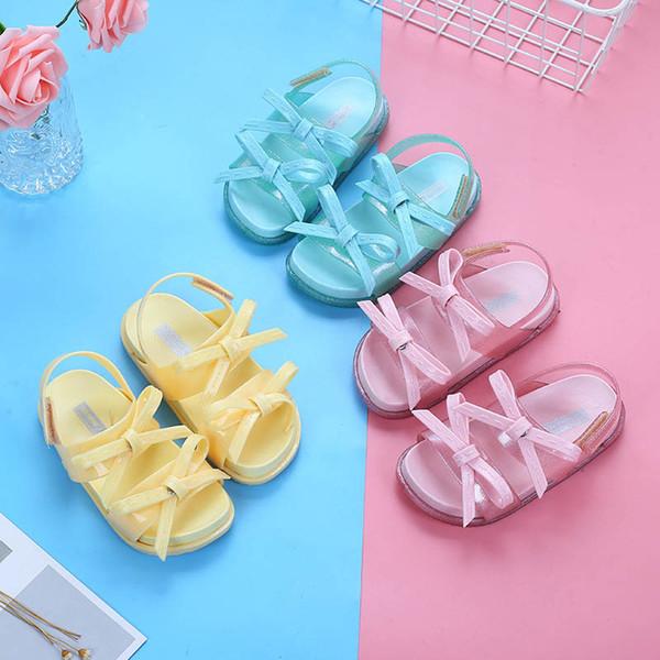 2019 new Jelly girls shoes bowknot kids shoes Summer Girls Sandals Children Beach Sandals Fashion kids girls sandals Girl Footwear A3808