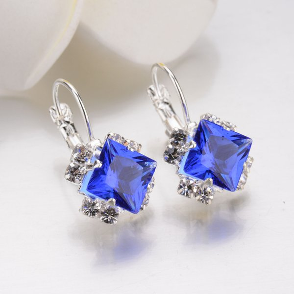 925 Sterling Silber Square Big CZ Diamant Ohrring Schmuck Ohrstecker Frauen Ohrringe